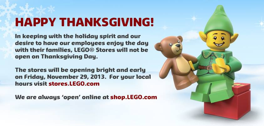 LEGO closed Thanksgiving